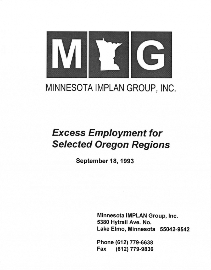 Excess Employment for Selected Oregon Regions (1993)