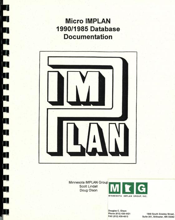 Micro IMPLAN 1990/1985 Database Documentation (1990)